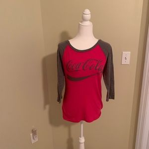 Coca Cola Baseball style tee red and grey